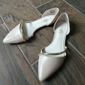 Beige D'Orsay Pointed Toe Flats with Gold Accent